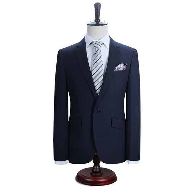 West Louis™ New York Slim Fit One Button Suit ( Blazer + Pants) Dark blue / XS - West Louis