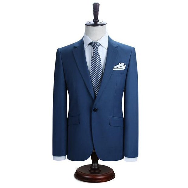 West Louis™ New York Slim Fit One Button Suit ( Blazer + Pants) Blue / XS - West Louis