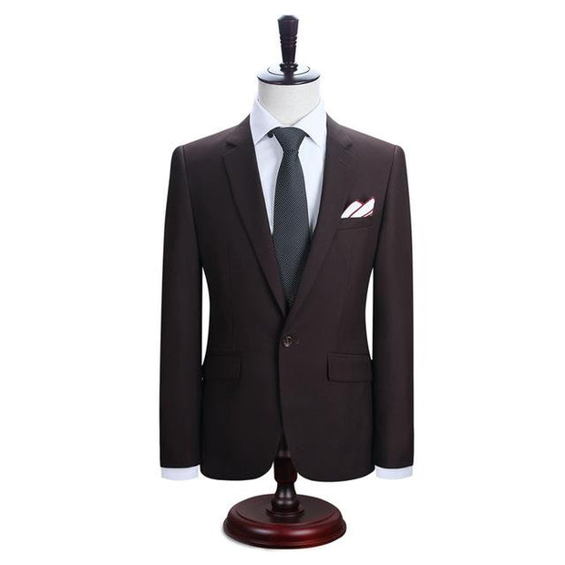 West Louis™ New York Slim Fit One Button Suit ( Blazer + Pants) Brown / XS - West Louis
