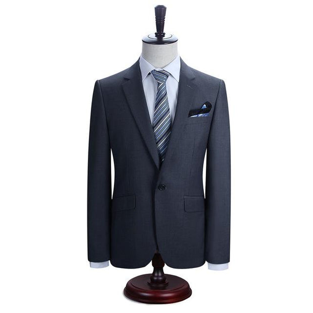 West Louis™ New York Slim Fit One Button Suit ( Blazer + Pants) Dark Gray / XS - West Louis