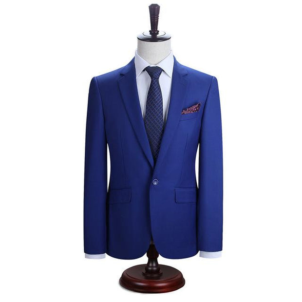 West Louis™ New York Slim Fit One Button Suit ( Blazer + Pants) Blue2 / XS - West Louis