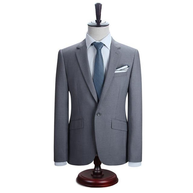 West Louis™ New York Slim Fit One Button Suit ( Blazer + Pants) Gray / XS - West Louis