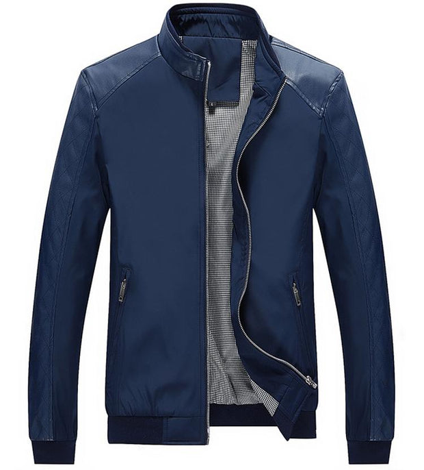 West Louis™ Business PU Leather Slim Jacket Navy Blue / XS - West Louis