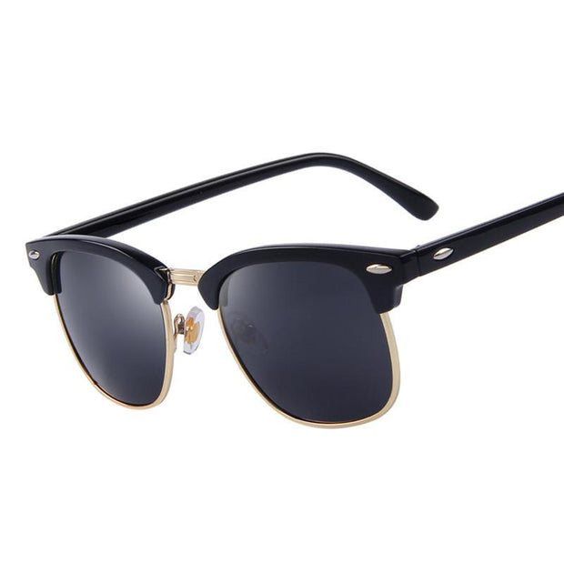 Matte Black Frame with Dark Grey Lens Semi-rimless Round Sunglasses Black - West Louis