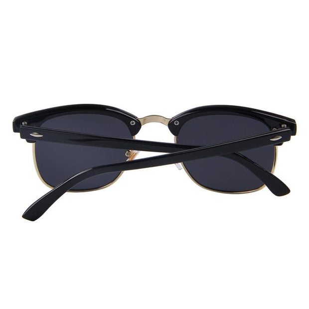 Matte Black Frame with Dark Grey Lens Semi-rimless Round Sunglasses  - West Louis