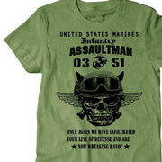 West Louis™ US Marines Infantry Assaultman T-Shirt Army Green1 / S - West Louis