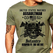 West Louis™ US Marines Infantry Assaultman T-Shirt Army Green2 / S - West Louis