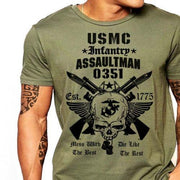 West Louis™ US Marines Infantry Assaultman T-Shirt Army Green4 / S - West Louis