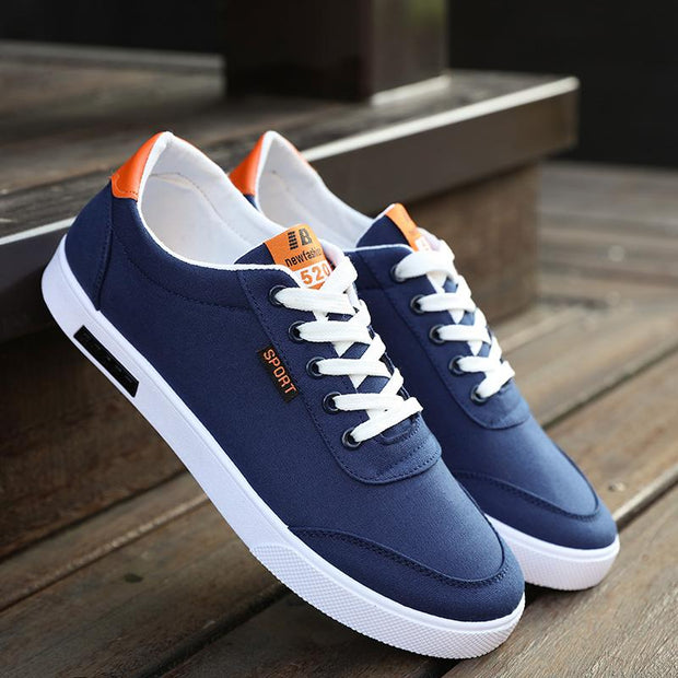 West Louis™  White Canvas Trend Sneakers Blue / 6.5 - West Louis