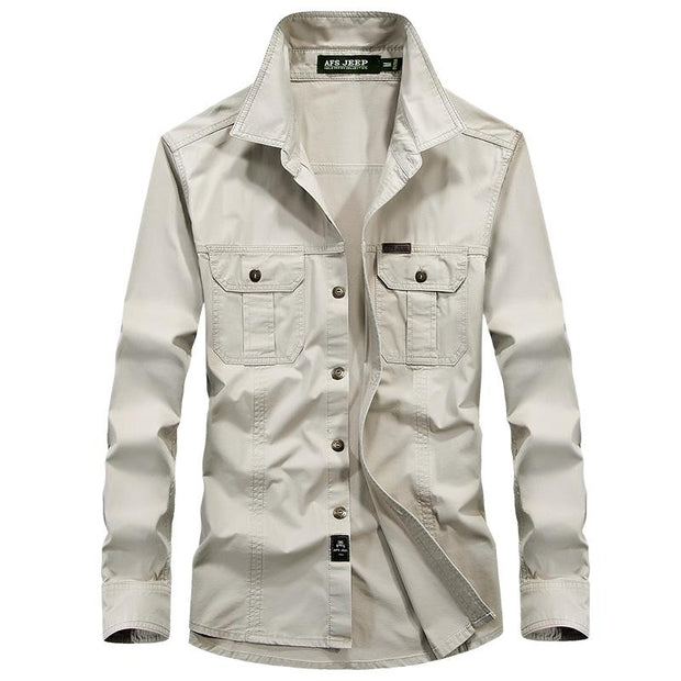 West Louis™ Military Cotton Shirt  - West Louis