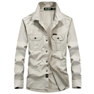 West Louis™ Military Cotton Shirt Beige / M - West Louis