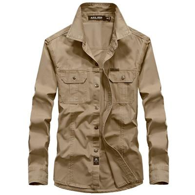 West Louis™ Military Cotton Shirt Khaki / M - West Louis