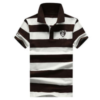 West Louis™ Summer Breathable Striped Polo Brown / XS - West Louis