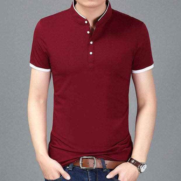 West Louis™ Casual Polo Shirts Wine Red / S - West Louis