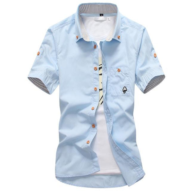 West Louis™ Embroidery Short Sleeve Color Shirts Sky Blue / M - West Louis