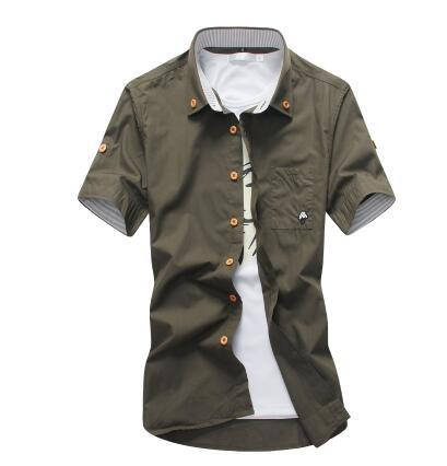 West Louis™ Embroidery Short Sleeve Color Shirts Army Green / M - West Louis