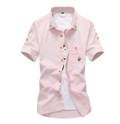 West Louis™ Embroidery Short Sleeve Color Shirts Pink / M - West Louis