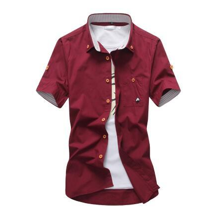 West Louis™ Embroidery Short Sleeve Color Shirts Red / M - West Louis