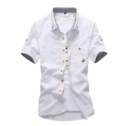 West Louis™ Embroidery Short Sleeve Color Shirts White / M - West Louis