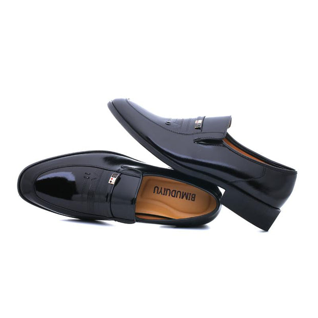 West Louis™ Black Patent PU Leather Pointed Shoes  - West Louis