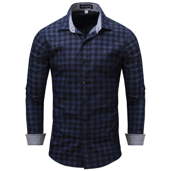 West Louis™ Denim Plaid Men Dress Shirt