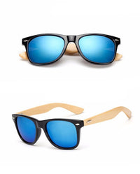 Retro Bamboo Wood Classic Wayfarer Style Sunglasses  - West Louis