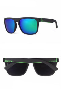 Black And Green Classic Wayfarer Style Sunglasses  - West Louis