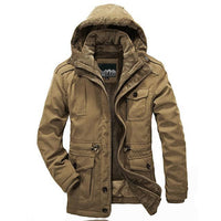 West Louis™ Men Warm Parkas Heavy Wool Coat Khaki / XXL - West Louis