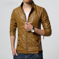 West Louis™ PU leather Biker Jacket Khaki / M - West Louis