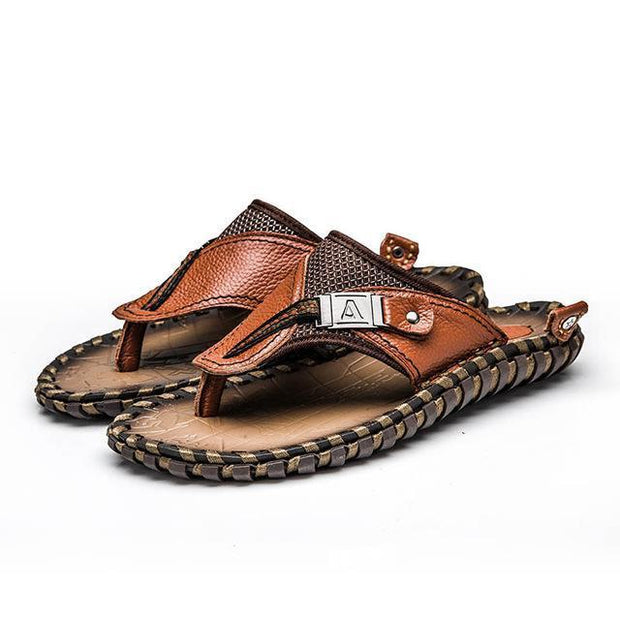 West Louis™ Handmade Cow Genuine Leather Slippers Brown / 10 - West Louis