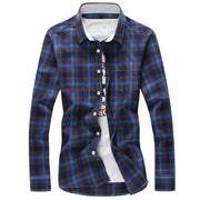 West Louis™ Plaid Turn-down Collar Shirt Blue / M - West Louis