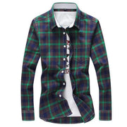 West Louis™ Plaid Turn-down Collar Shirt Green / M - West Louis