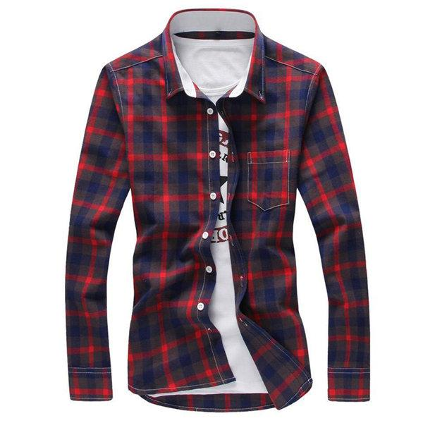 West Louis™ Plaid Turn-down Collar Shirt Red / M - West Louis