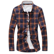 West Louis™ Plaid Turn-down Collar Shirt Dark Yellow / M - West Louis