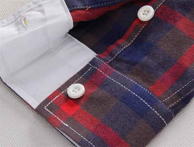 West Louis™ Plaid Turn-down Collar Shirt  - West Louis