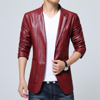 West Louis™ Soft PU Leather Male Blazer red / M - West Louis