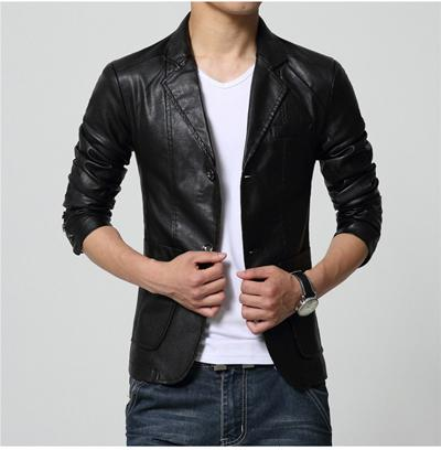 West Louis™ Soft PU Leather Male Blazer black / M - West Louis