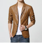 West Louis™ Soft PU Leather Male Blazer khaki / M - West Louis
