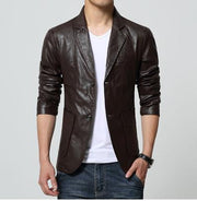 West Louis™ Soft PU Leather Male Blazer coffee / M - West Louis