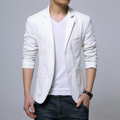 West Louis™ Soft PU Leather Male Blazer white / M - West Louis