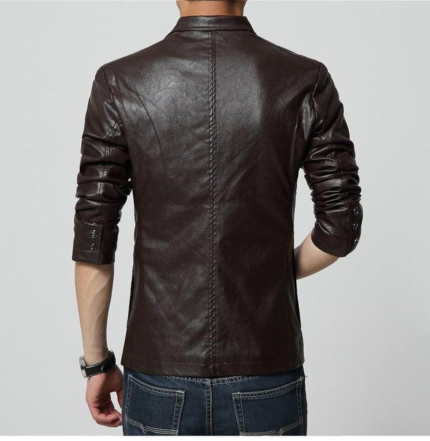 West Louis™ Soft PU Leather Male Blazer  - West Louis