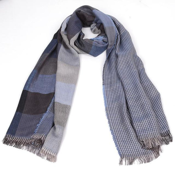 West Louis™ Tassel Double Fine Stripe Plaid Scarve blue - West Louis