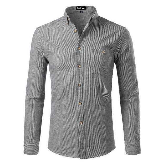 West Louis™  Cotton Casual Button Down Striped Shirt Gray White / XS - West Louis