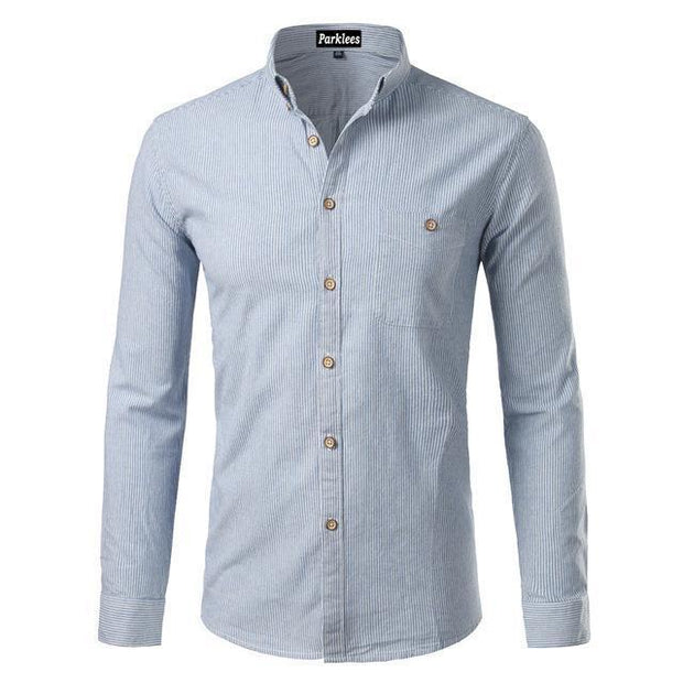 West Louis™  Cotton Casual Button Down Striped Shirt Light Blue / XS - West Louis