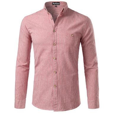 West Louis™  Cotton Casual Button Down Striped Shirt Red / XS - West Louis