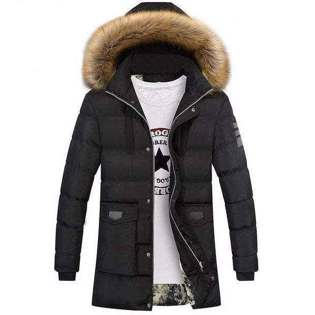 West Louis™ Winter Fur Jacket Bio Down Parkas Black / XXL - West Louis