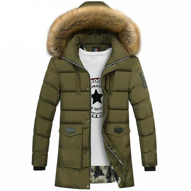 West Louis™ Winter Fur Jacket Bio Down Parkas Green / XXL - West Louis