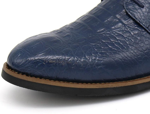 West Louis™ Retro Crocodile Pattern Leather Shoes  - West Louis