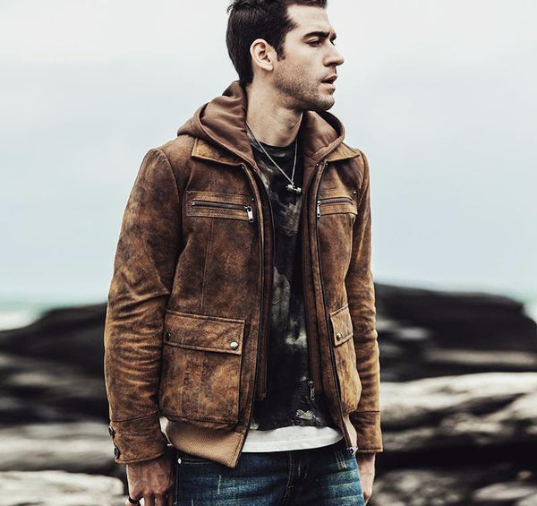West Louis™ Retro Autumn Winter Genuine Leather Jacket