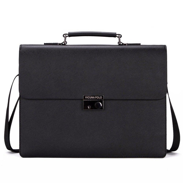 West Louis™ Business Theftproof Lock Black Leather Briefcase